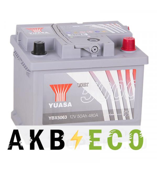 Автомобильный аккумулятор YUASA YBX5000 50R низкий (480А 207x175x175) Silver High Performanse YBX5063