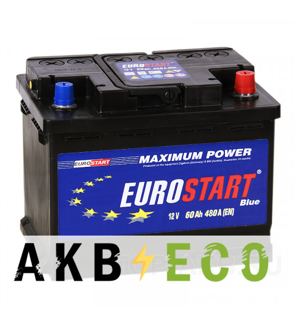 Автомобильный аккумулятор Eurostart 60R (480А 242x175x190)