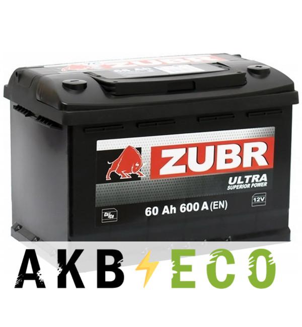 Автомобильный аккумулятор ZUBR Ultra 60R 600A (242x175x190)