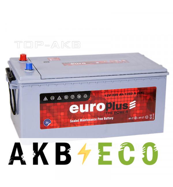 Автомобильный аккумулятор Europlus 225 евро 1250A (518x274x238) 701912