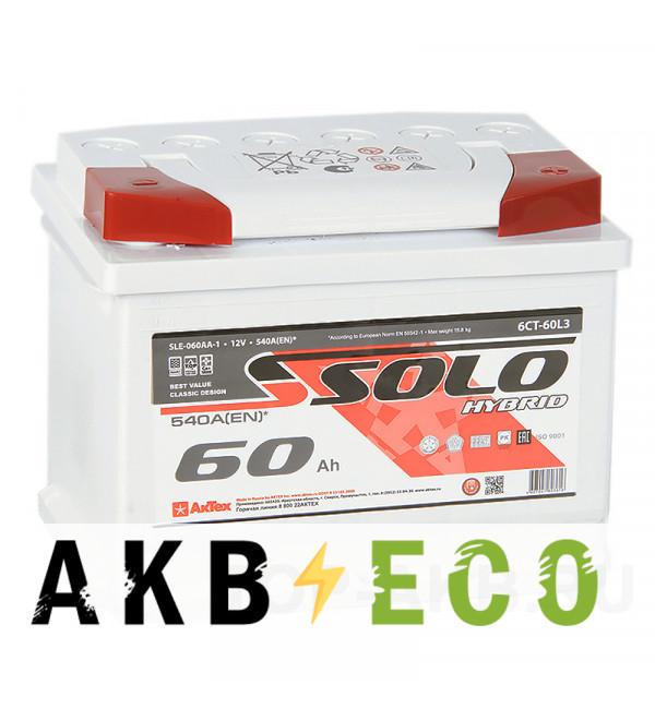 Автомобильный аккумулятор SOLO 60R (540A 242x175x190)