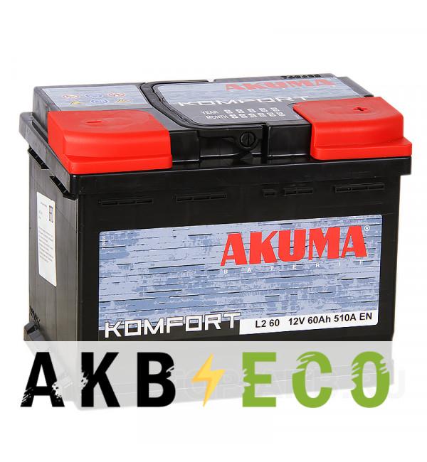 Автомобильный аккумулятор Akuma Komfort 60R 510A (242x175x190)