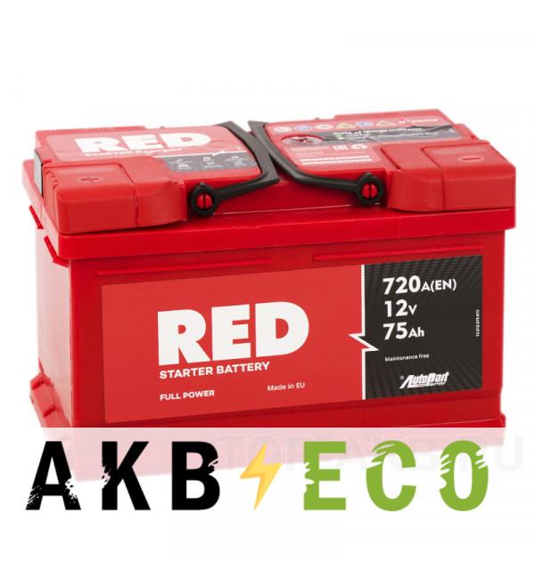 Автомобильный аккумулятор Red 75L низкий (720A 278x175x175)