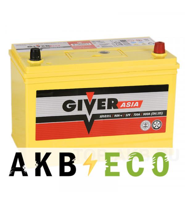 Автомобильный аккумулятор Giver 105D31L (90R 720A 302x172x223)
