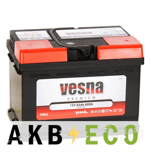 Автомобильный аккумулятор Vesna Premuim 62R низкий (600A 242x175x175) 415062 56249