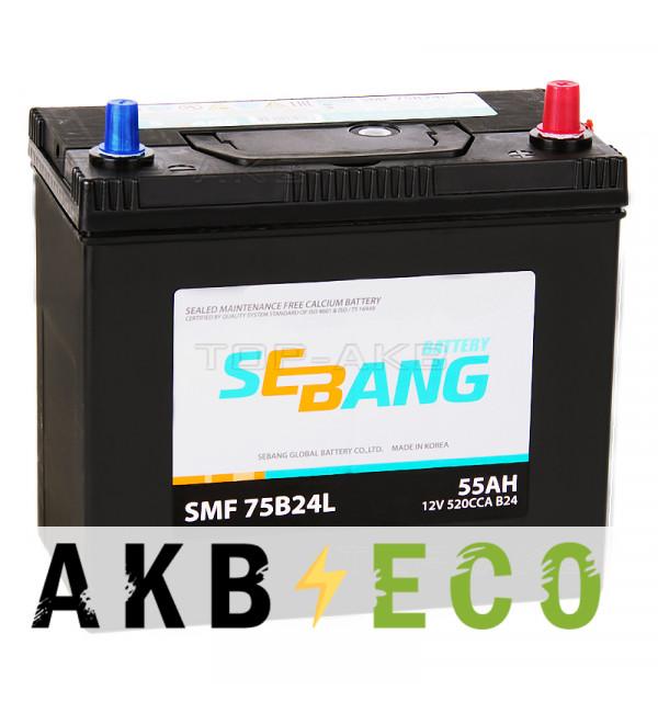 Автомобильный аккумулятор Sebang 75B24L 55 Ач обратная пол. 520А (238x129x227)