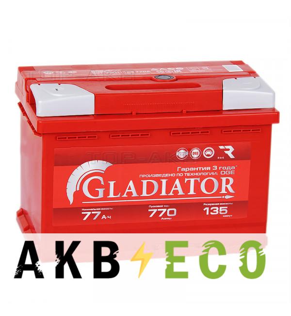 Автомобильный аккумулятор GLADIATOR 77L 770A 278x175x190