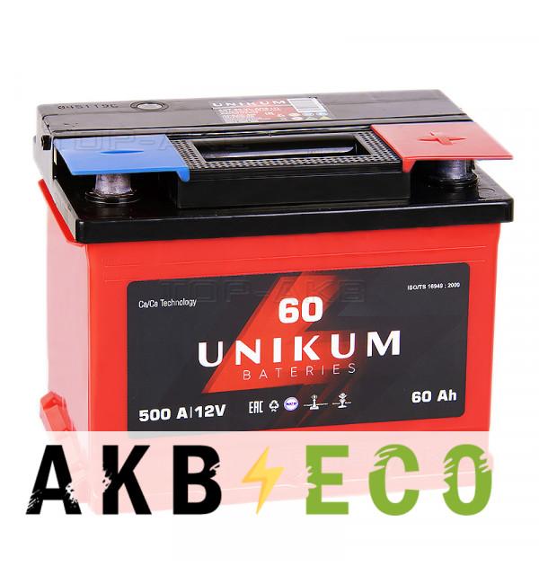 Автомобильный аккумулятор UNIKUM 60R 500A (242x175x190)
