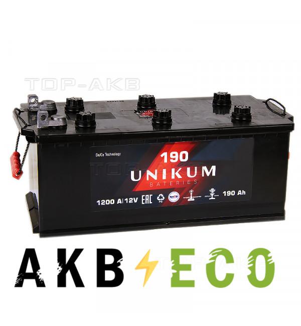 Автомобильный аккумулятор UNIKUM 190 рус болт 1200A (524x239x240)