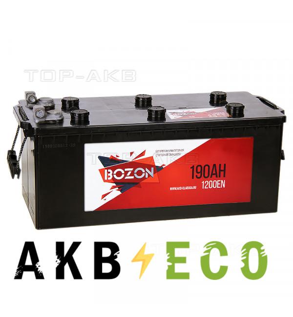 Автомобильный аккумулятор Bozon 190 рус болт 1200A (513x223x223)