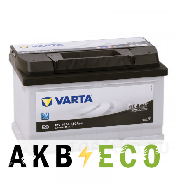 Автомобильный аккумулятор Varta Black Dynamic E9 70R 640A 278x175x175
