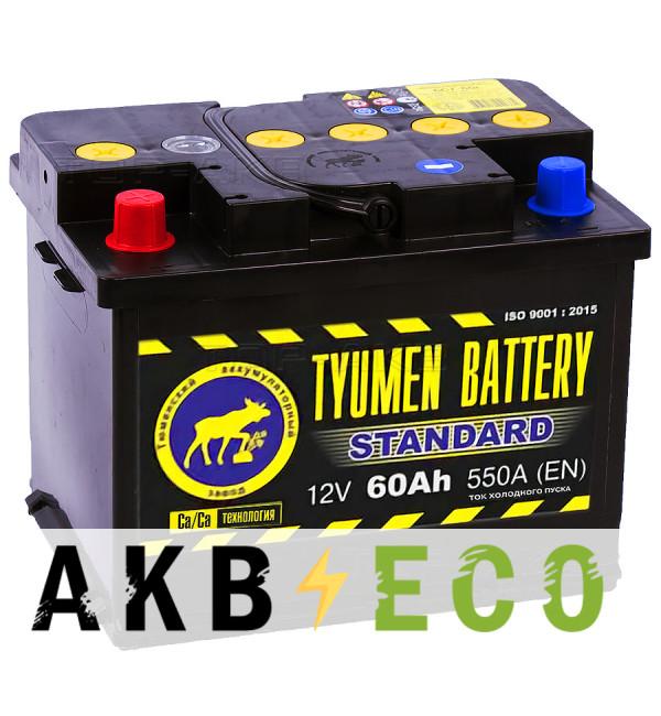 Автомобильный аккумулятор Tyumen Battery Standard 60 Ач прям. пол. 550A (242x175x190)