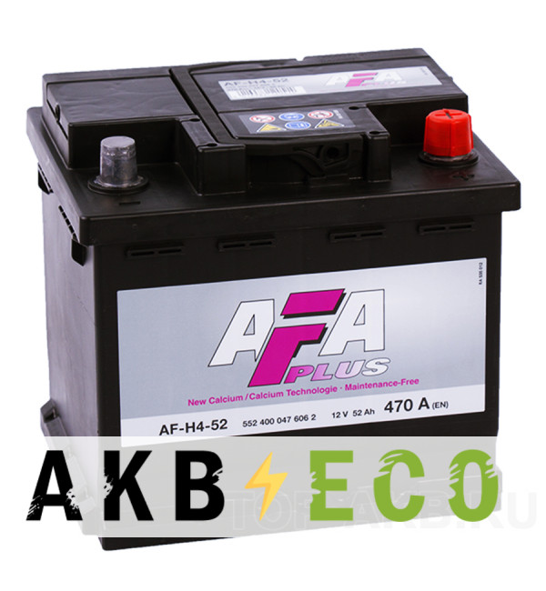 Автомобильный аккумулятор AFA Plus 52R 470A (207x175x190) AF-H4-52
