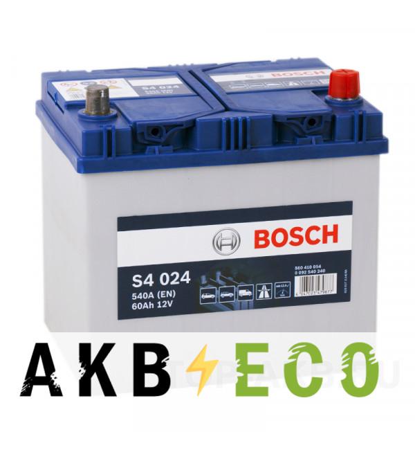 Автомобильный аккумулятор Bosch S4 024 60R 540A 232x173x225