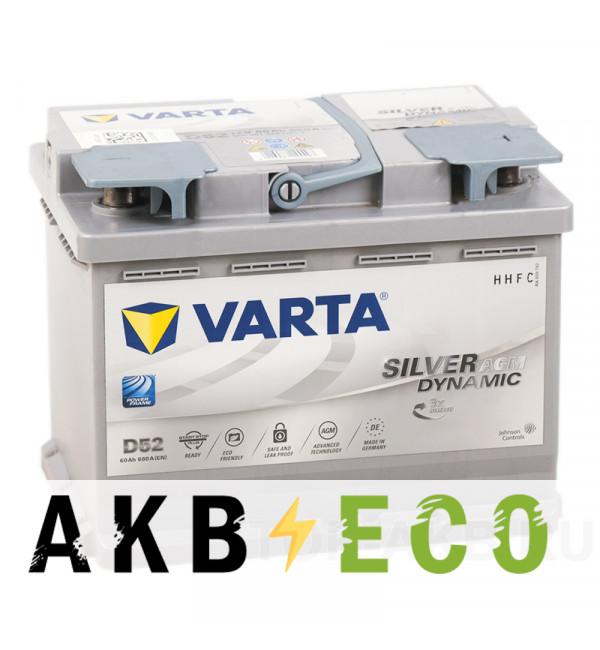 Автомобильный аккумулятор Varta Silver Dynamic AGM D52 60R (Start-Stop) 680A 242x175x190