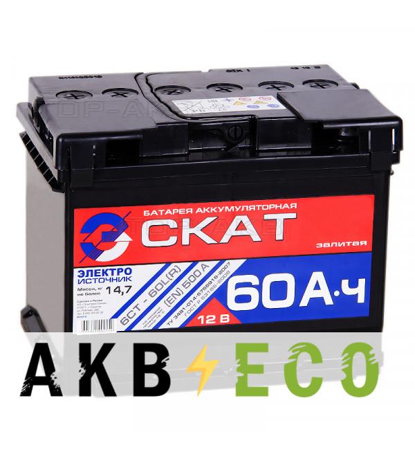Автомобильный аккумулятор Скат 60R 500А (242x175x190)