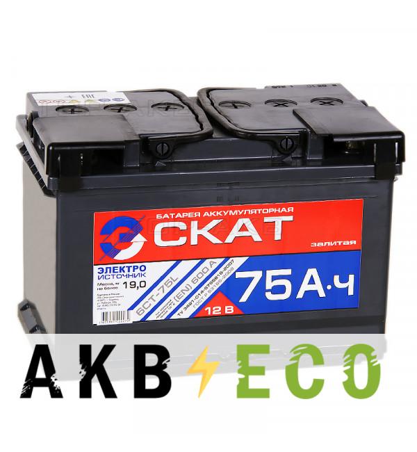 Автомобильный аккумулятор Скат 75L 600А (278x175x190)
