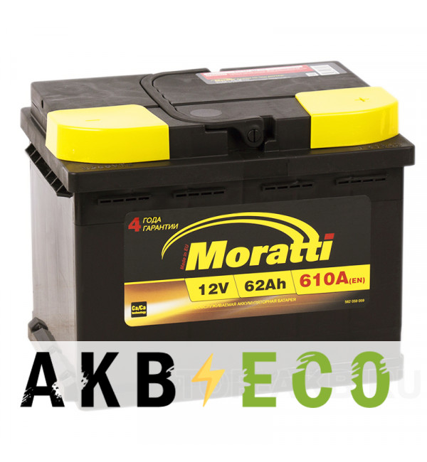 Автомобильный аккумулятор Moratti 62R 610А 242х175х190