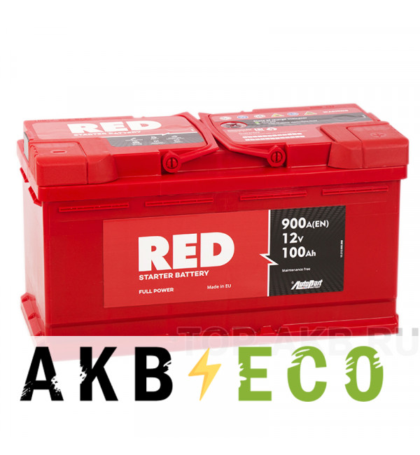 Автомобильный аккумулятор Red 100R (900A 353x175x190)