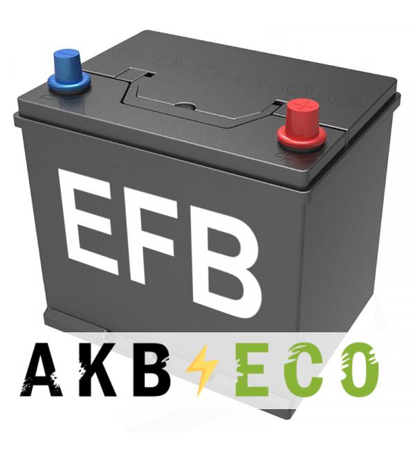 Автомобильный аккумулятор Подменный D23 EFB обр. пол. (232x173x225) нижнее крепл. 60-65 Ач