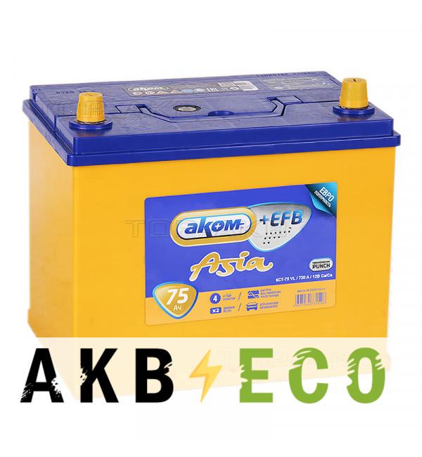 Автомобильный аккумулятор Аком Asia+EFB 75R 720A (260x173x225)