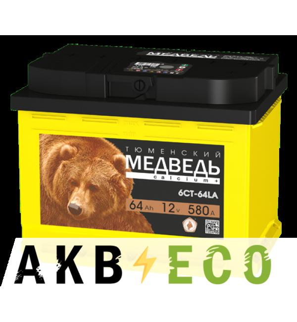 Автомобильный аккумулятор Тюменский медведь Calcium Plus 64 Ач прям. пол. 580A (242x175x190) гибридный