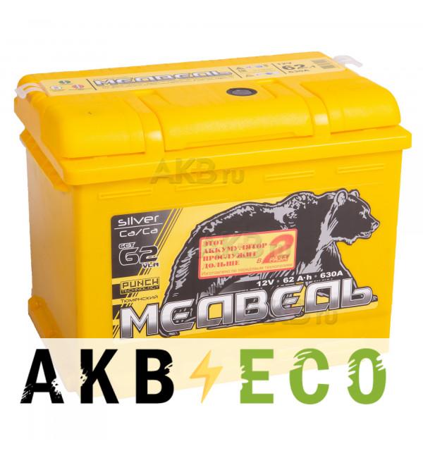 Автомобильный аккумулятор Тюменский медведь Сa/Сa 62 Ач прям. пол. 630A (242x175x190) Silver