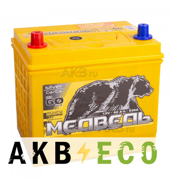 Автомобильный аккумулятор Тюменский медведь Сa/Сa 65D23R 60 Ач прям. пол. 530A (230x170x225) Silver ASIA