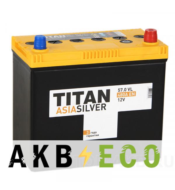 Автомобильный аккумулятор Titan Asia Silver 57R (480А 238x129x225)