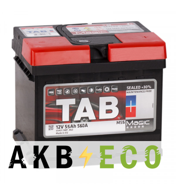 Автомобильный аккумулятор Tab Magic 55R (560A 207x175x190) 189058 55510