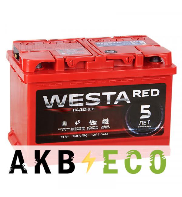 Автомобильный аккумулятор Westa 74R 760A 278x175x190