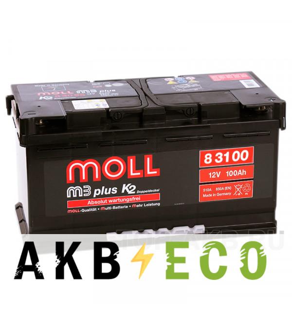Автомобильный аккумулятор Moll M3plus 100R 850A 353x175x190