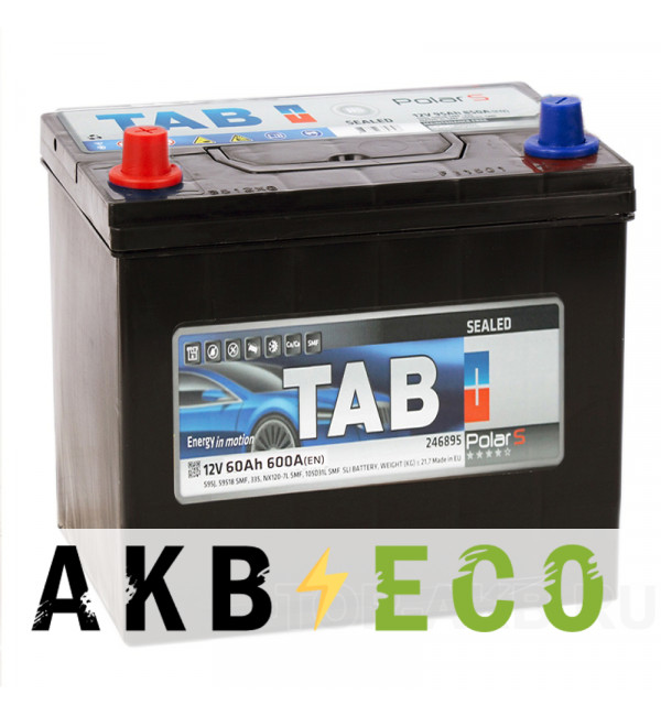 Автомобильный аккумулятор Tab Polar S 60L (600А 232x173x225) D23 прям. 246960 56069