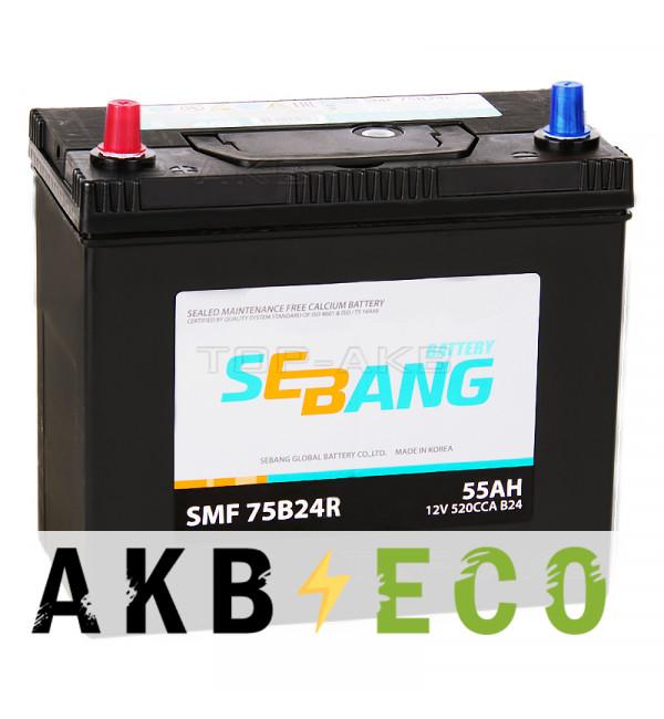 Автомобильный аккумулятор Sebang 75B24R 55 Ач обратная пол. 520А (238x129x227)