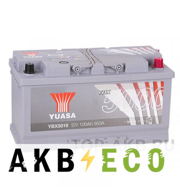 Автомобильный аккумулятор YUASA YBX5000 100R (900А 353x175x190) Silver High Performanse YBX5019