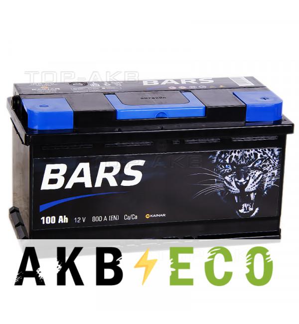 Автомобильный аккумулятор Bars 100R 800A 353x175x190