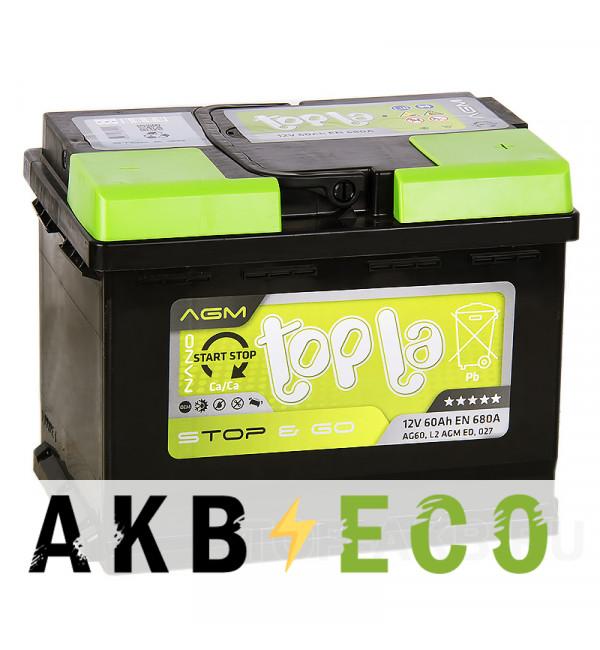 Автомобильный аккумулятор Topla AGM Stop-n-Go 60R (680A 242x175x190) 114060