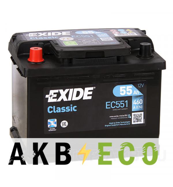 Автомобильный аккумулятор Exide Classic 55L 460A 242x175x190 EC551
