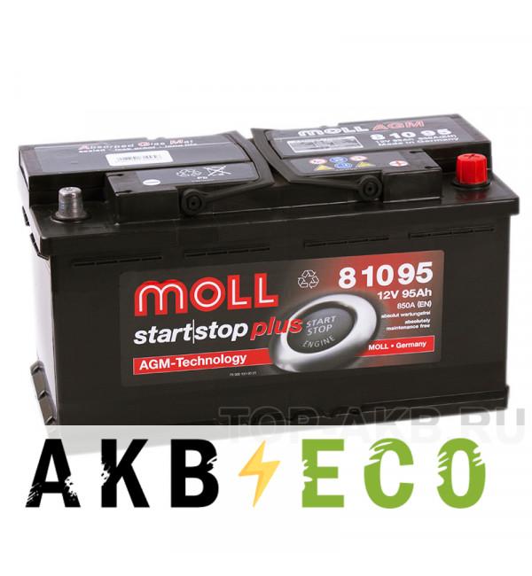 Автомобильный аккумулятор Moll AGM 95R Start-Stop 850A 353x175x190