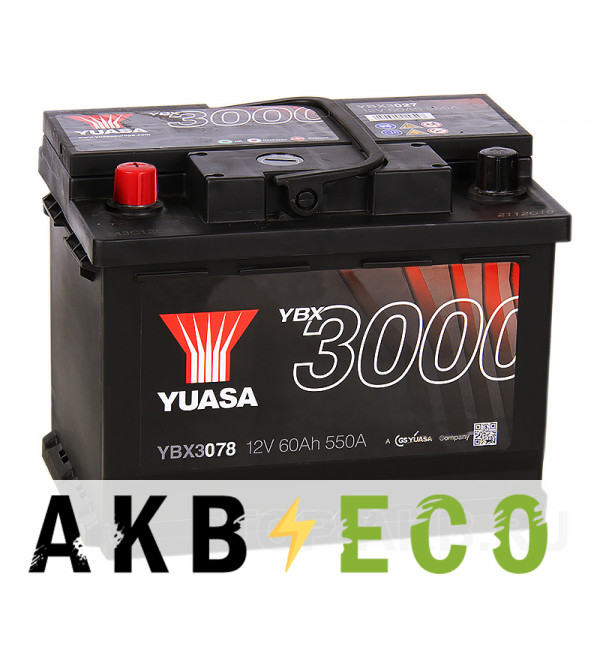Автомобильный аккумулятор YUASA YBX3000 60L (550А 242x175x190) YBX3078