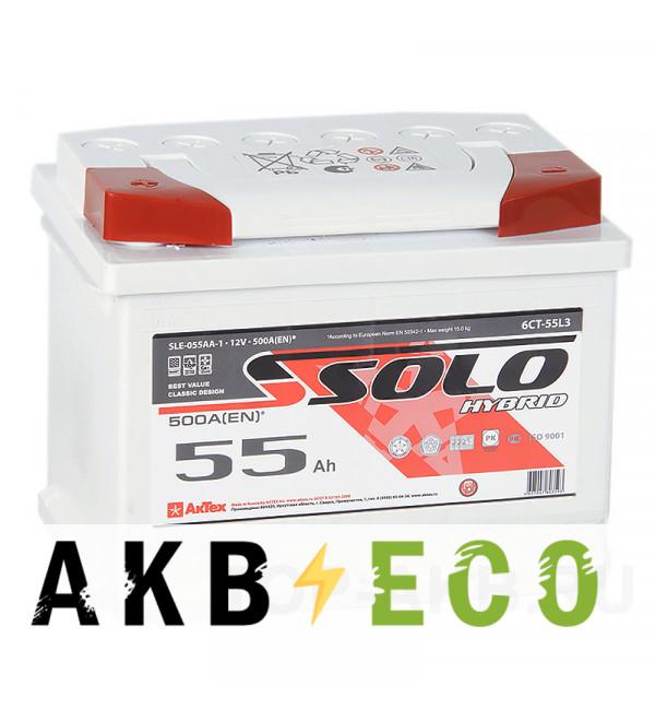 Автомобильный аккумулятор SOLO 55L (500A 242x175x190)