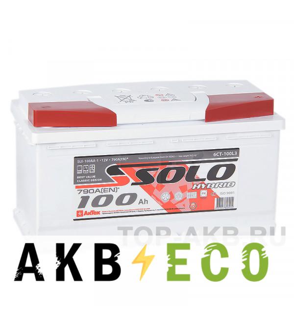 Автомобильный аккумулятор SOLO 100R (790A 353x175x190)