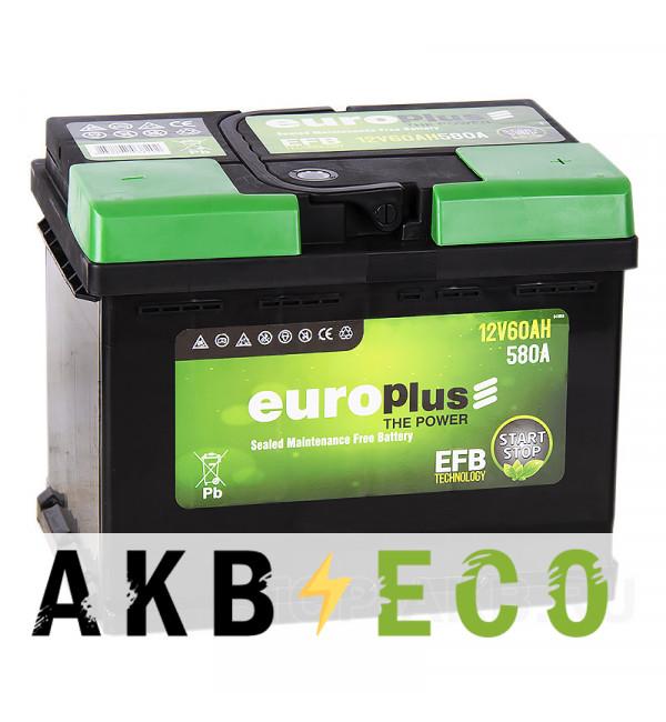 Автомобильный аккумулятор Europlus EFB Start-Stop 60R (580A 242x175x190)