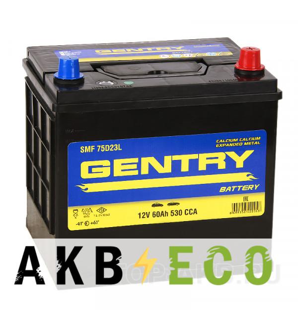 Автомобильный аккумулятор Gentry 75D23L (60R 530A 230x173x225)