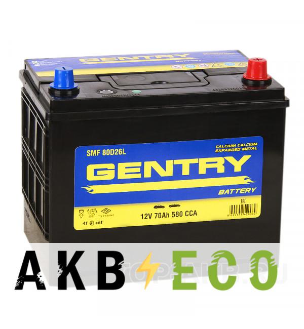 Автомобильный аккумулятор Gentry 80D26L (70R 580A 260x173x225)