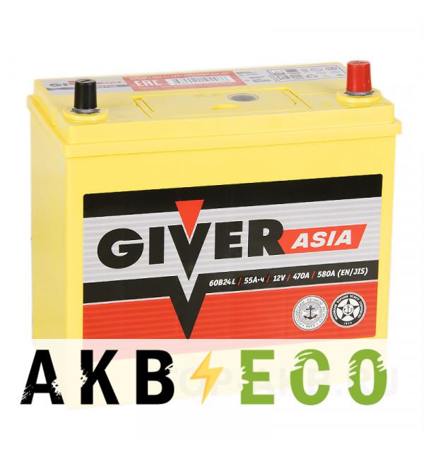 Автомобильный аккумулятор Giver 60B24L (55R 470A 238x129x225)
