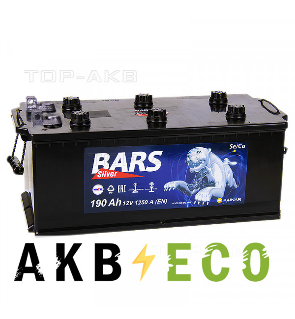 Автомобильный аккумулятор Bars 190 болт 1250A 524x239x240
