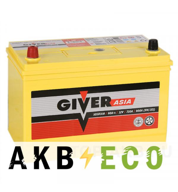 Автомобильный аккумулятор Giver 105D31R (90L 720A 302x172x223)