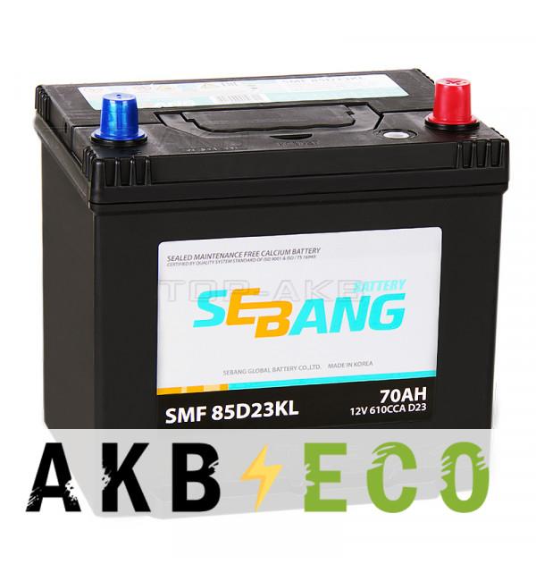 Автомобильный аккумулятор Sebang 85D23KL 70 Ач обратная пол. 610А (232x173x225)