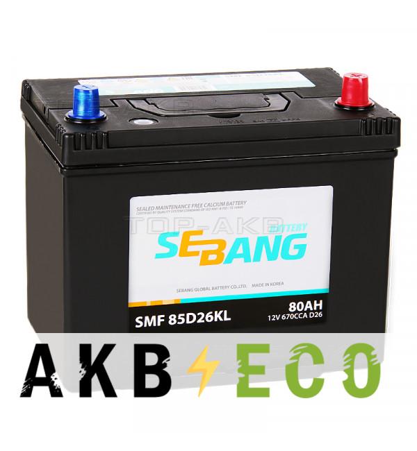 Автомобильный аккумулятор Sebang 85D26KL 80 Ач обратная пол. 670А (260x173x225)